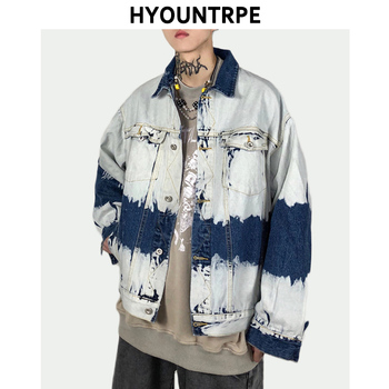 Fashion Tie-dyed Washed Denim Jacket Coats Mens Hip Hop Single Breasted Turn Down Collar Outerwear New Streetwear Jackets