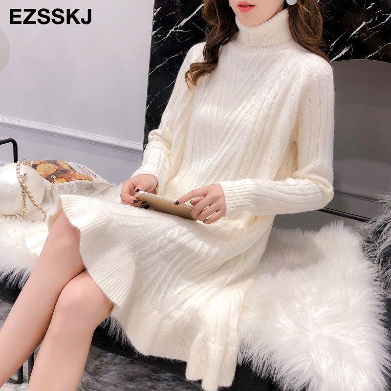 2019 Autumn winter Thick Turtleneck Fishtail sweater dress women basic warm midi sweater dress female 67