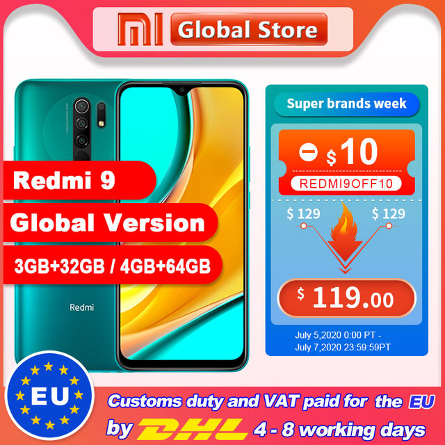 Instock Global Version Redmi 9 3GB 32GB / 4GB 64GB Smartphone Octa-core Media Tek Helio G80 13MP Rear camera 5020mAh Redmi9