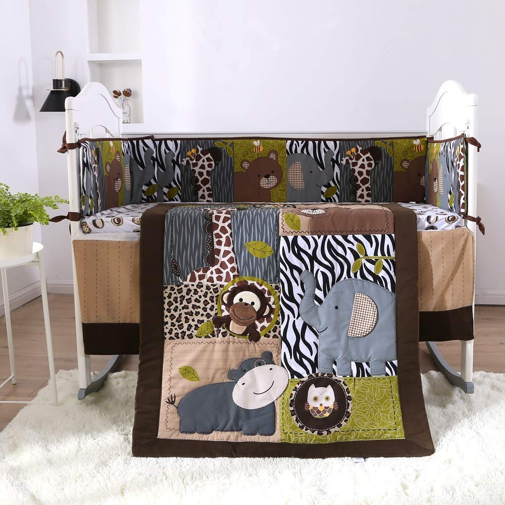 7PCS Cot Baby Bedding Set Bumpers Baby Crib Protector Soft Cot Bed Embroidered ,(4bumper+duvet+bed Cover+bed Skirt)