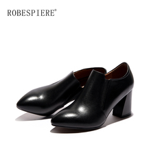 ROBESPIERE Quality Genuine Leather Pumps Women Sexy Pointed Toe Square Heels Shoes Rome Slip On Office Dress Ladies A68