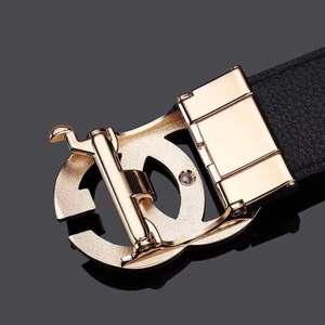 Image 5 - עור Mens חגורת אמיתי יוקרה מותג מעצב עור רצועת אבזם אוטומטי אופנה חגורת זהב #19535 37P