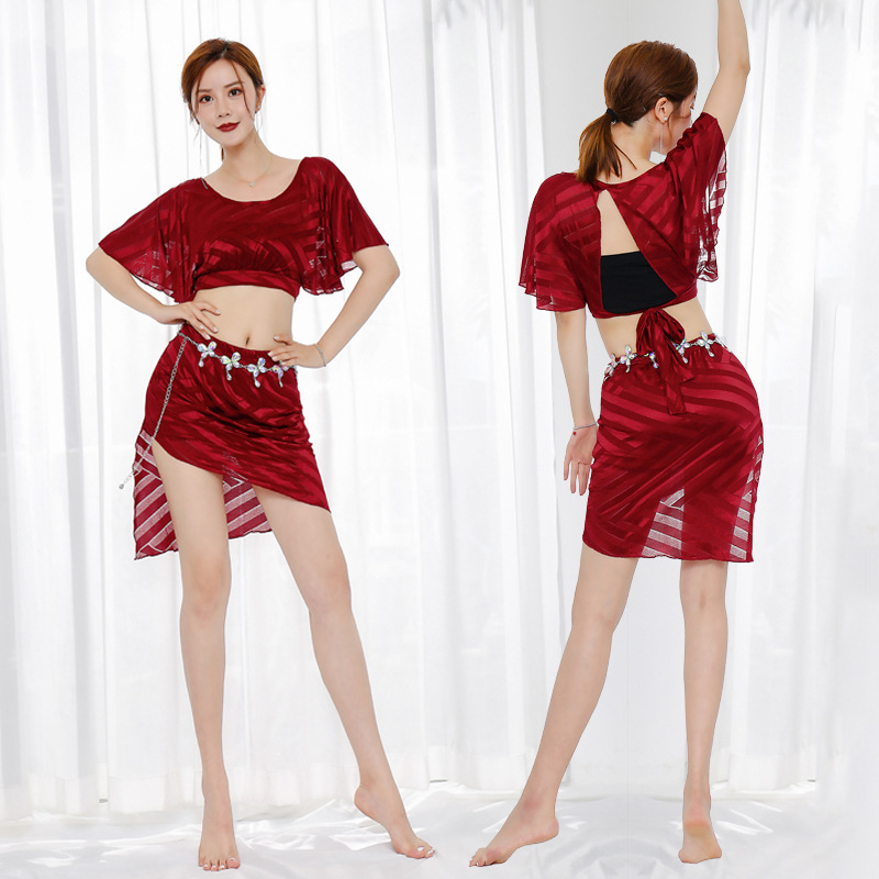 Belly dance clothing female 2020 suit beginner sexy mesh Oriental dance practice performance short skirt image