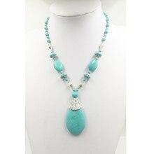 Ожерелье из натурального камня, ожерелье из амазонита, ожерелье с подвеской-каплей для женщин