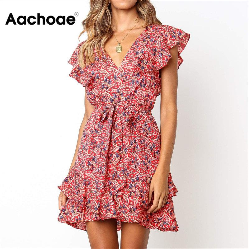 Aachoae Dress Summer 2020 Women Floral Print Sashes Beach Dress Boho Ruffles A-line Mini Sundress Elegant Party Dress Vestidos