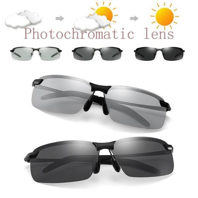 Fotokromik polarize güneş gözlüğü erkekler için klasik sürücü güneş gözlüğü gözlük Vintage gözlük balıkçılık Discolor Lens UV400