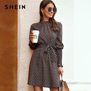 SHEIN Stand Collar Ditsy Floral Print Elegant Dress With Belt Women 2020 Spring Flounce Sleeve Ladies A Line Short Frill Dresses 1