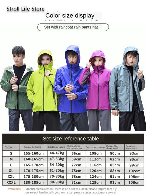 Men Rain Jacket Pants Set Raincoat Waterproof Suit Men's Electric Motorcycle Rain Coat Adult Outdoor Women's Jacket Hiking Gift 4