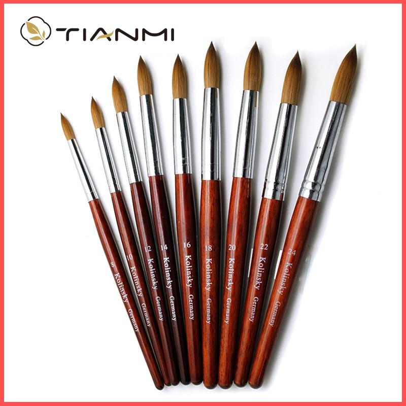 Kolinsky Acrylic Nail Brush Good Quality Nail Art Mink Brush Wood Handle Gel Builder Manicure Brush Drawing Tools Size 8-24