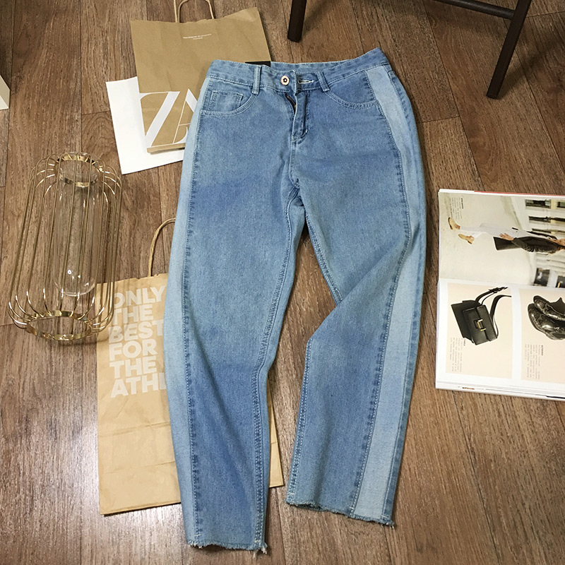 BIVIGAOS 19 New Spring Autumn Womens Cropped Jeans Korean Side Stitching Washed Denim Straight Pants Boyfriend Jeans For Women 16