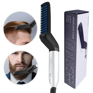 Multifunctional Hair Comb Brush Beard Straightener Hair Straighten Straightening Comb Hair Curler Quick Hair Styler For Men(China)