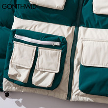 GONTHWID Mulit Pockets Color Block Patchwork Hooded Parkas Streetwear Harajuku Hip Hop Casual Cotton Padded Thick Jackets Coats