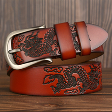 Hot Sale Cow Leather Dragon Pressed Men Belt High Quality Genuine Leather Luxury