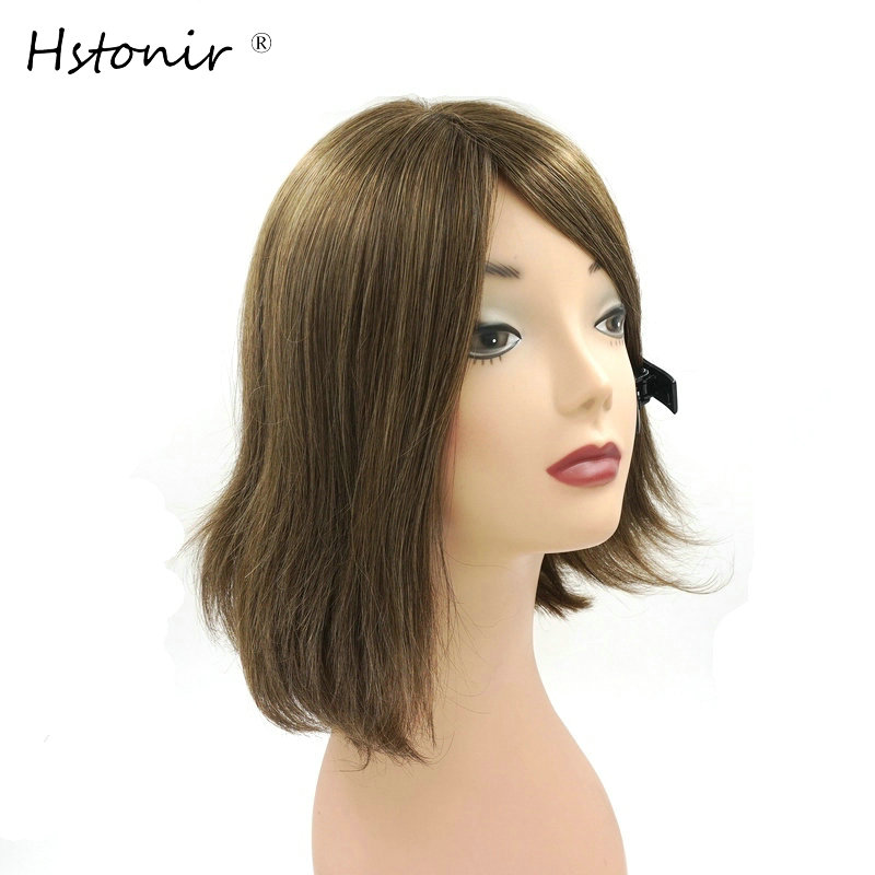 Hstonir Kosher Jewish Wig European Remy Hair Silk Top Wig Bob Sheitel Straight Ash Blond Customized Order