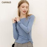 Canvaus Casual T shirt Long Sleeve T Shirt Women O Neck Kink Design Women Clothes 2019 Camiseta Autumn Tops FS388A