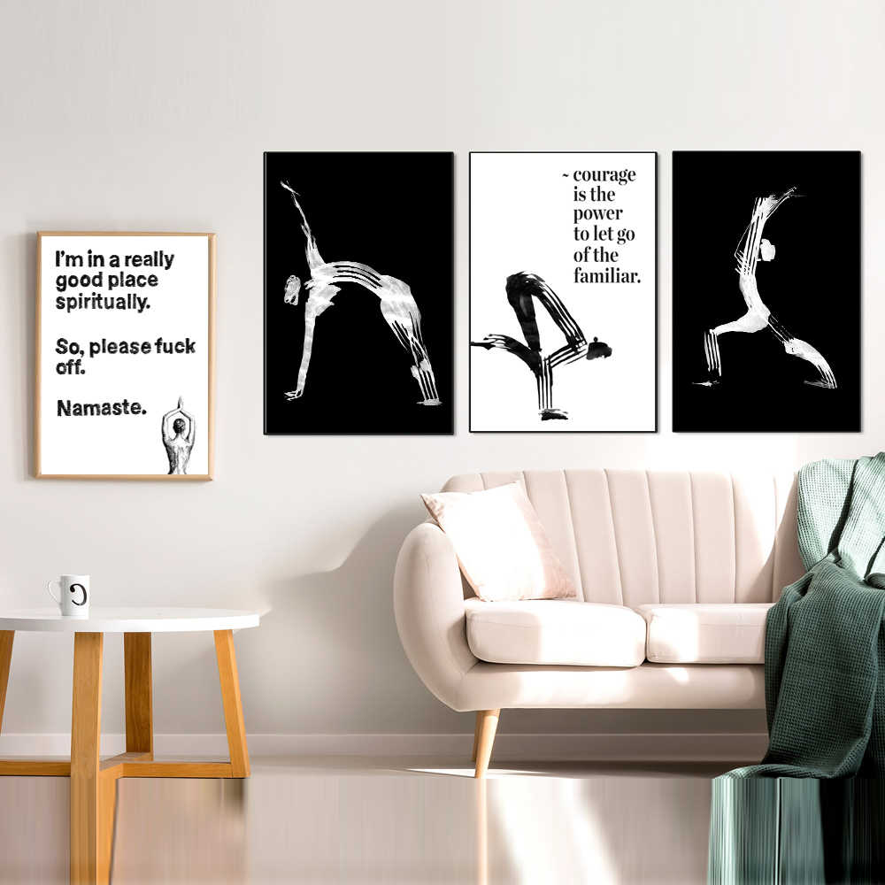 Inhale Namaste Poster Black White Canvas Painting Yoga Motivational Art Prints Modular Wall Pictures For Living Room Home Decor