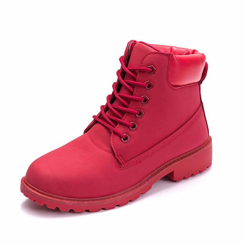 Nữ Đỏ Giày Trong Mùa Đông Phẳng Lông Ấm Áp Sang Trọng Ủng Buộc Dây Da Bò 2019 Ngắn Cổ Chân giày