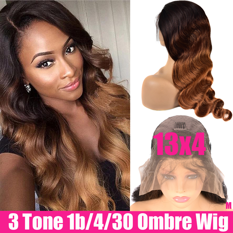 Ombre Body Wave Wig Lace Front Human Hair Wigs 150% Remy Brazilian Wig 13x4 Lace Frontal Wig Ombre Human Hair Wig For Women