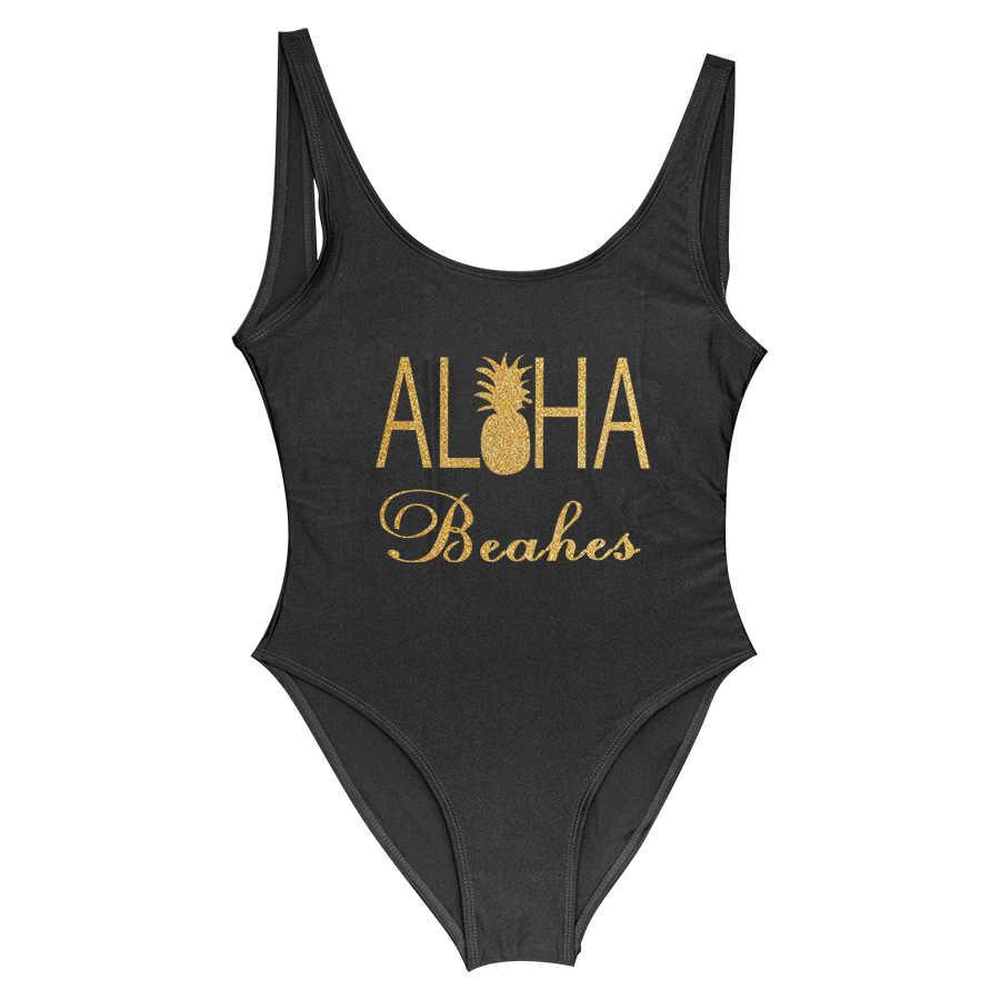 Bling Print Een Stuk Badpak Aloha Stranden Bruid Badpakken Ananas Bruid Bruidsmeisje Beachwear Bachelorette Bikini