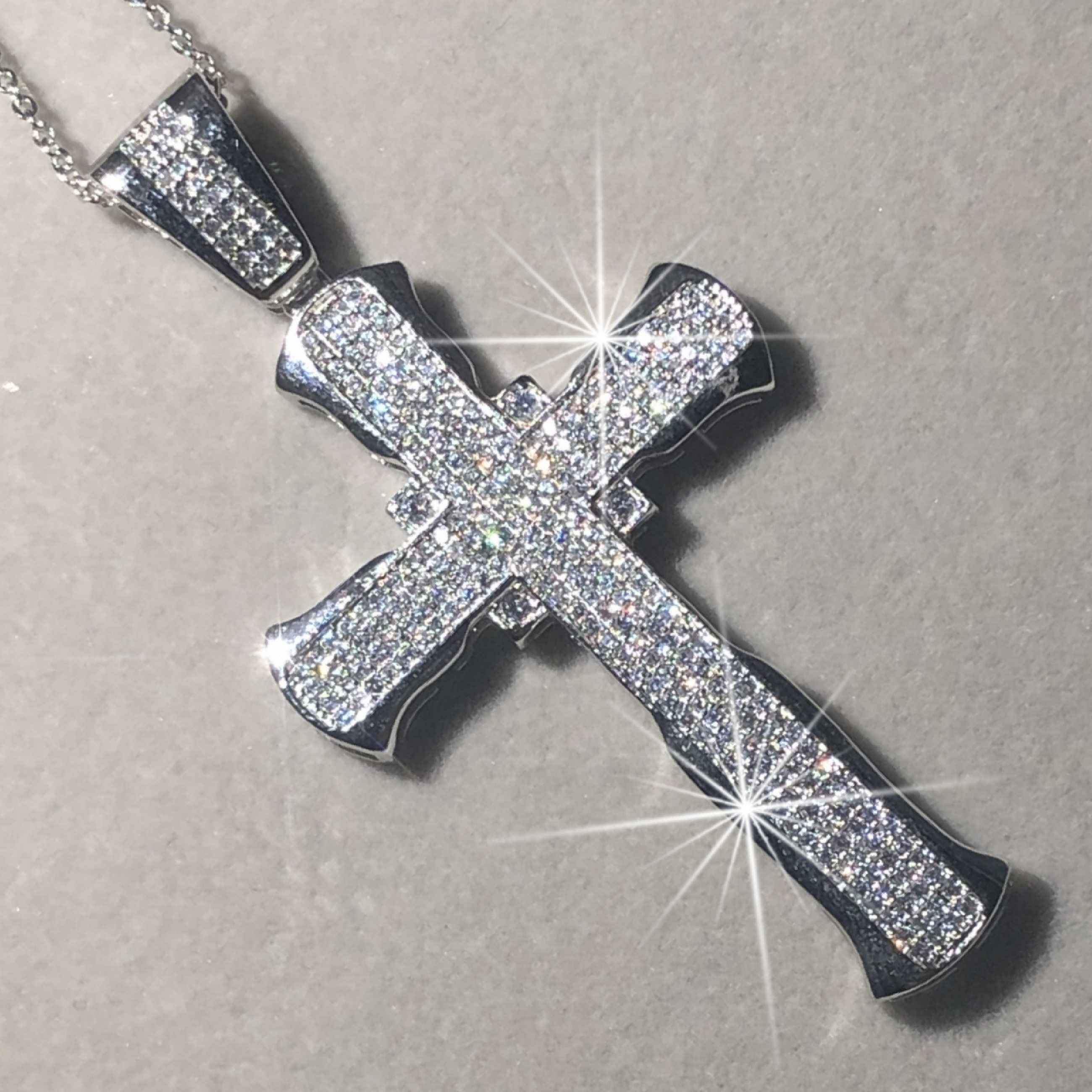 New 925 Silver Exquisite Bible Jesus Cross Pendant Necklace For Women Men Crucifix Charm Simulated Platinum Diamond Jewelry
