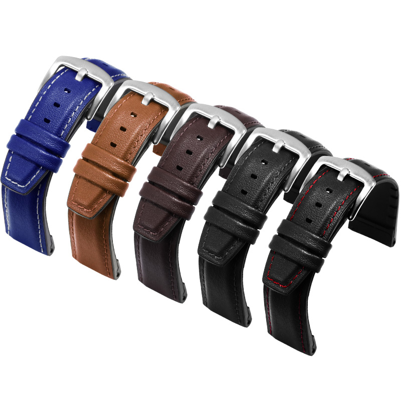 22mm Leather +Silicone 2in 1 Watchband Black Brown Blue Bracelet Suitable For Huawei Watch GT/Pro Smart Watch Accessories