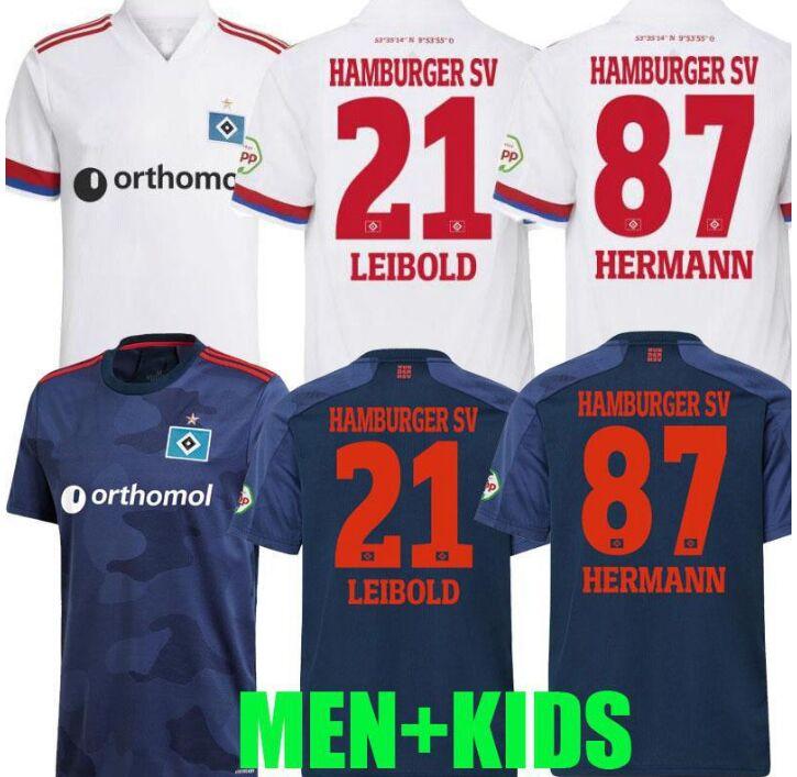 Camisa masculina + crianças define 2020 2021 trikots hamburger sv maillots de pé camisas de futebol hamburgo kits de futebol 2020/21