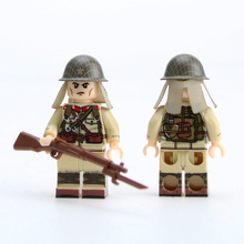 4PCS WW2 Military Japanese Army Soldier Figures Building Blocks Military WW2 Army Soldier guns Weapon Bricks Toys for Children