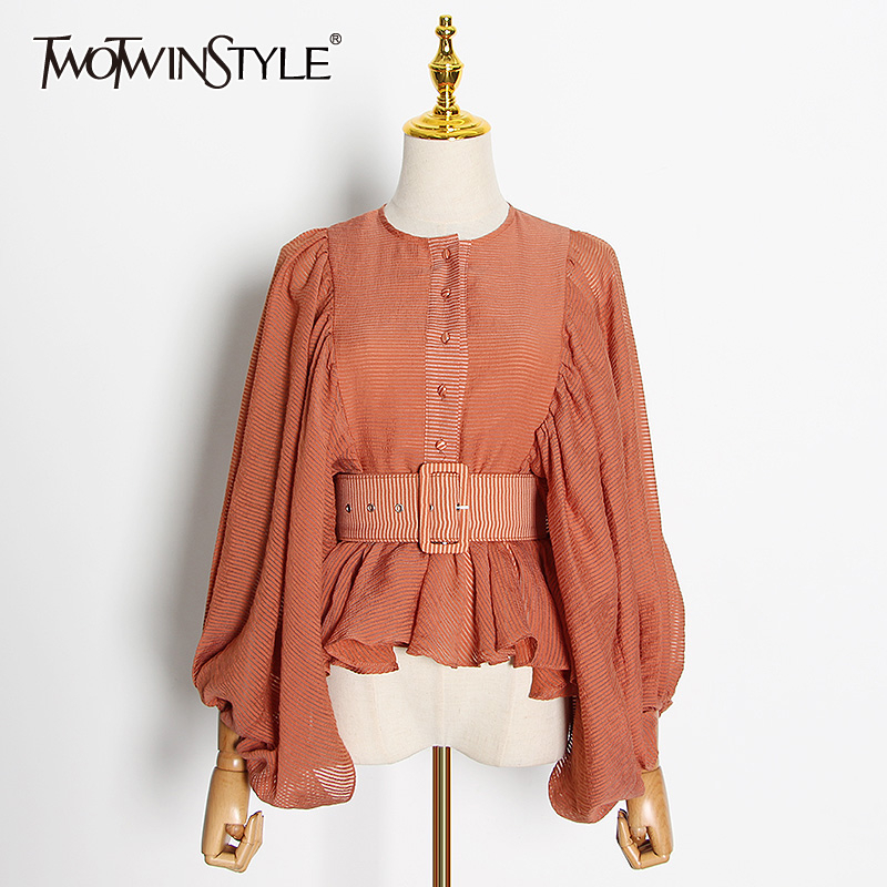 TWOTWINSTYLE Casual Loose Women Shirt O Neck Lantern Long Sleeve High Waist With Sashes Ruched Blouse For Female Fashion Clothes
