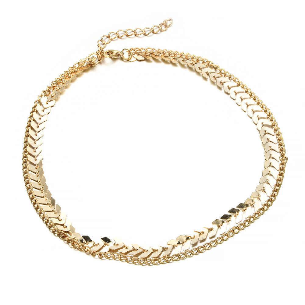 ทองสีโลหะสองชั้น Choker สร้อยคอ Fishbone ง่ายเครื่องประดับ Collana Kolye Bijoux Collares Mujer Collier Femme