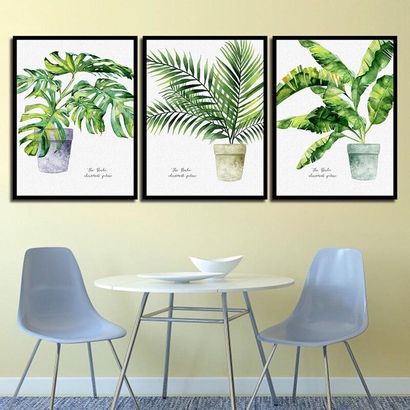 Fresco verde vasos de plantas decoração para casa nordic simples posters quadros em tela quadros da arte da parede do espaço para o quarto sem moldura