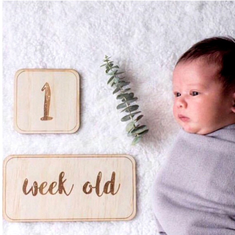 Baby Birth Milestone Card Wooden Monument Wooden Sign Decoration Craft Party Supplies HOT