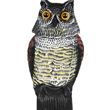 Outdoor Garden Hunting Fake Owl Decoy Bird Rodent Deter Scarer Pest Control Garden Scarecrow Rotate Head Yard Birds Ornament(China)