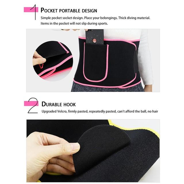 Unisex Waist Trimmer Trainer Fitness Workout Elastic Shaping Sweat Sauna Abdomen Sports Fitness Belt with Pocket for Cell Phone 2