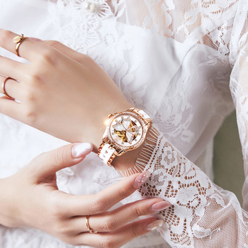OLEVS  Mechanical Women Watch Fashion Switzerland Luxury Brand Ladies WristWatch Automatic Ceramic Hollow Design montre femme 5