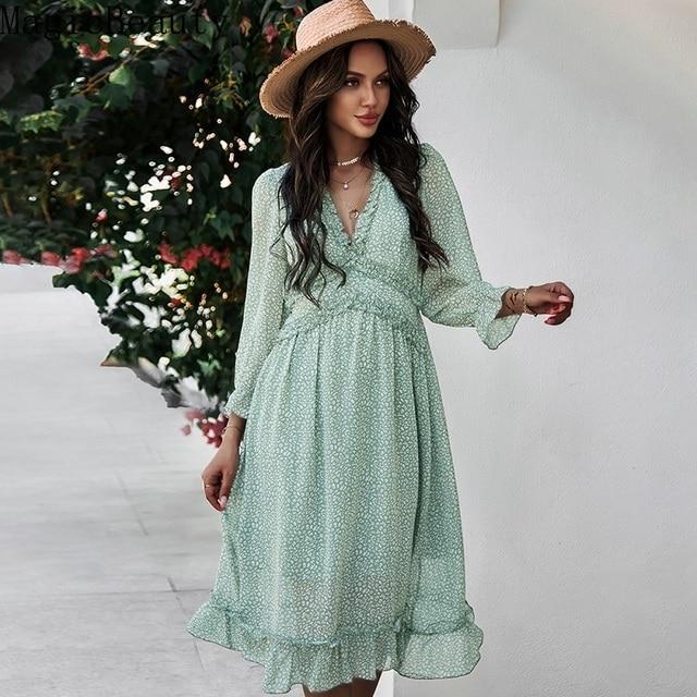 Women V Neck Print Dress Casual Butterfly Sleeve High Waist Dress Ladies Summer Chiffon Dress 6
