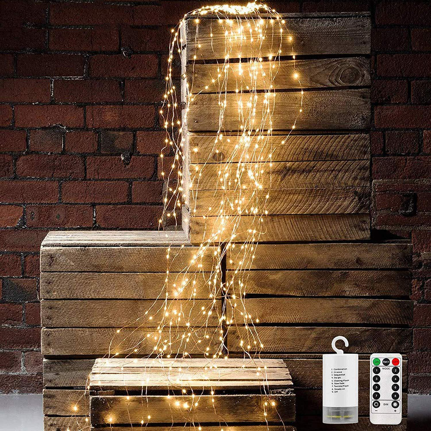 LED Solar Power Outdoor Light Strings Waterproof 200 300LED Copper Wire Christmas Horsetail Lamp Spray Lamp Holiday LIghts