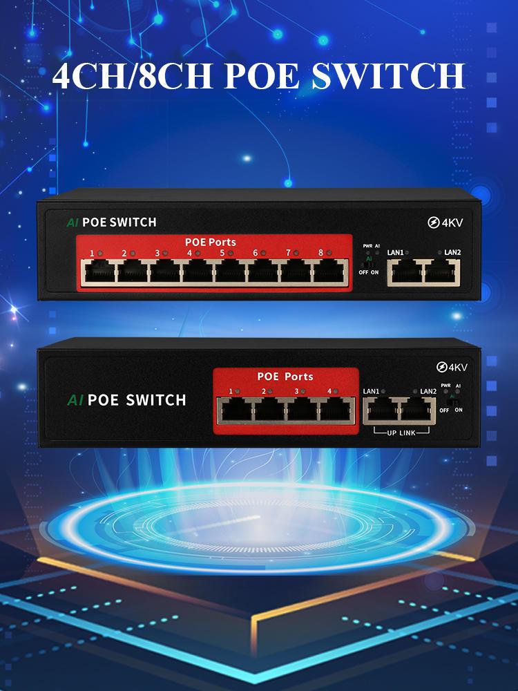 Poe-Switch Network Techage Ap/cctv-Camera-System 10/100mbps Ip-Camera/wireless 4CH