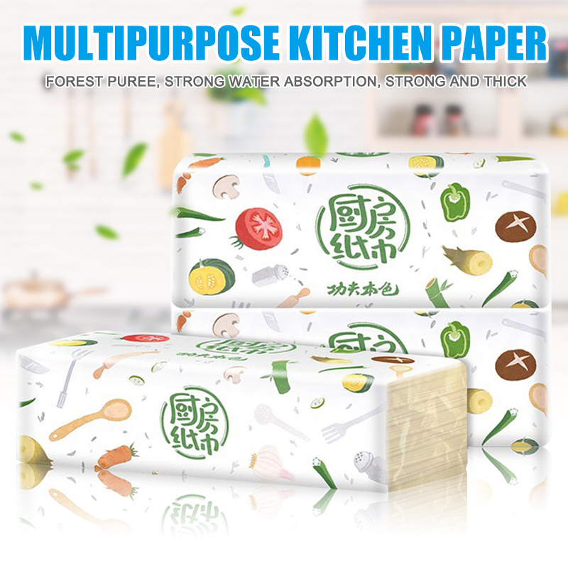 3 Packs Strong Oil-absorbing Kitchen Tissue Wood Pulp Water Absorption Paper Towel New J55
