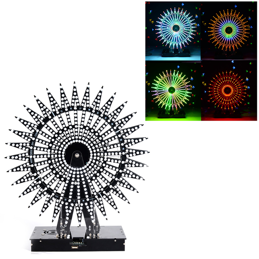 DIY Ferris Wheel Model LED Light Kit Remote Control Music Spectrum Electronic Kit 51 Single-chip LED Kit With Bluetooth Speaker