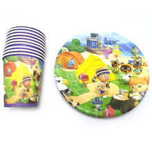 Birthday Party Animal Crossing Theme Cups Kids Favors Plates Baby Shower Decoration Disposable Dishes Tableware Set 60pcs/lot lego blocks theme disposable tableware set paper plates cups baby shower birthday party supplies decoration for kids