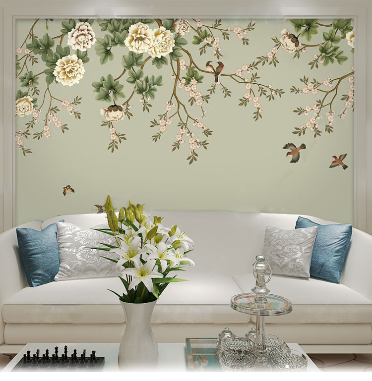 Seamless Large Mural Fresh Hand-Painted Flower Deer Living Room Sofa Bedroom TV Backdrop Wall Wallpaper