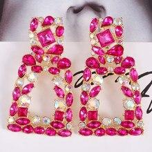 Atacado juran luxo feito à mão de cristal longo grandes brincos para as mulheres za design maxi declaração balançar brincos moda jóias