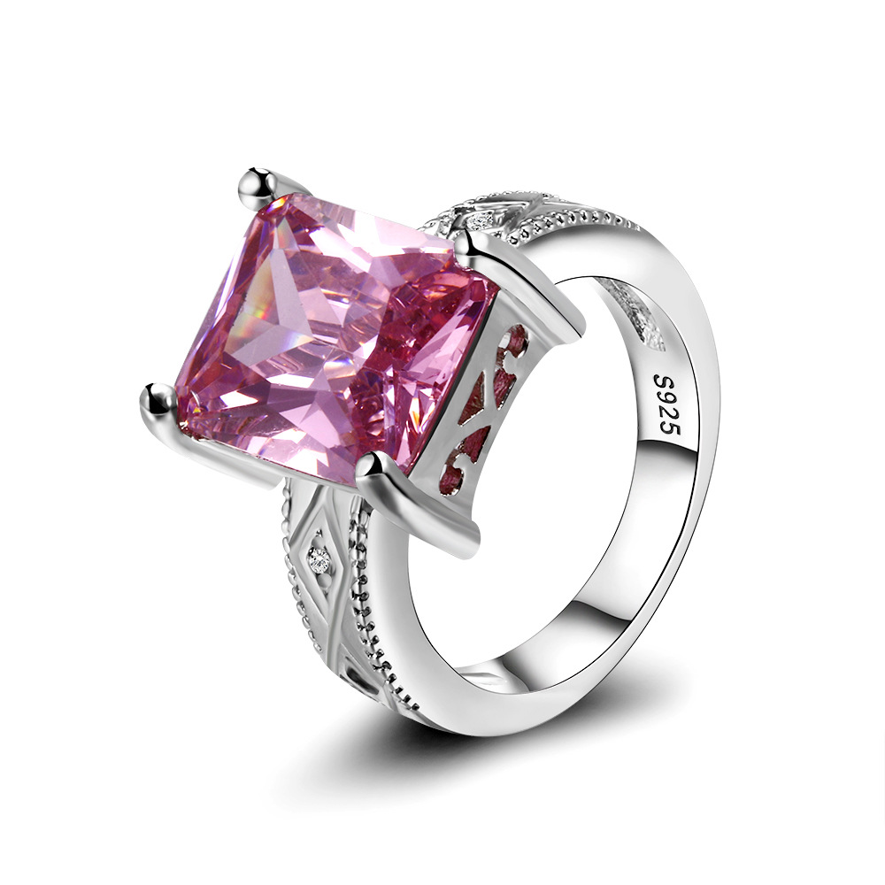 Cross Border Europe and The United States Wind Rectangle Pink Stone Plated Ring Personality Ring Women Wholesale Rings for Women