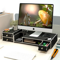Desktop Cabinet Computer Monitor Screen Increased Shelf Multi layer Drawer Office Stationery Supplies Accessories Desk Organizer