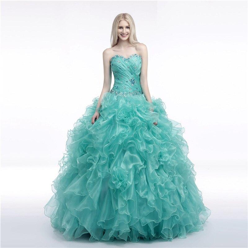 Tiffany volants robes de bal doux 16 Quinceanera robes de grande taille sur mesure gonflé longue perlée dos nu à lacets robe de soirée de bal