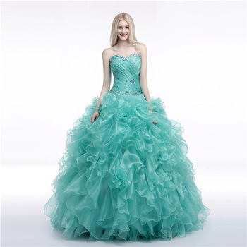 Tiffany Ruffle Ball Gowns Sweet 16 Quinceanera Dresses Plus Size Custom Made Puffy Long Beaded Backless Lace Up Prom Party Dress