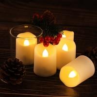 Luz LED tipo vela recargable con parpadeo sin llama, luces de té, lámpara de vela falsa realista, decoración para el hogar, cumpleaños y boda, 6 uds.
