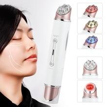 كهربائي الوجه العين مدلك القلم الاهتزاز مزدوج رئيس EMS تجديد آلة العين LED الفوتون تجديد الجلد المضادة للتجاعيد