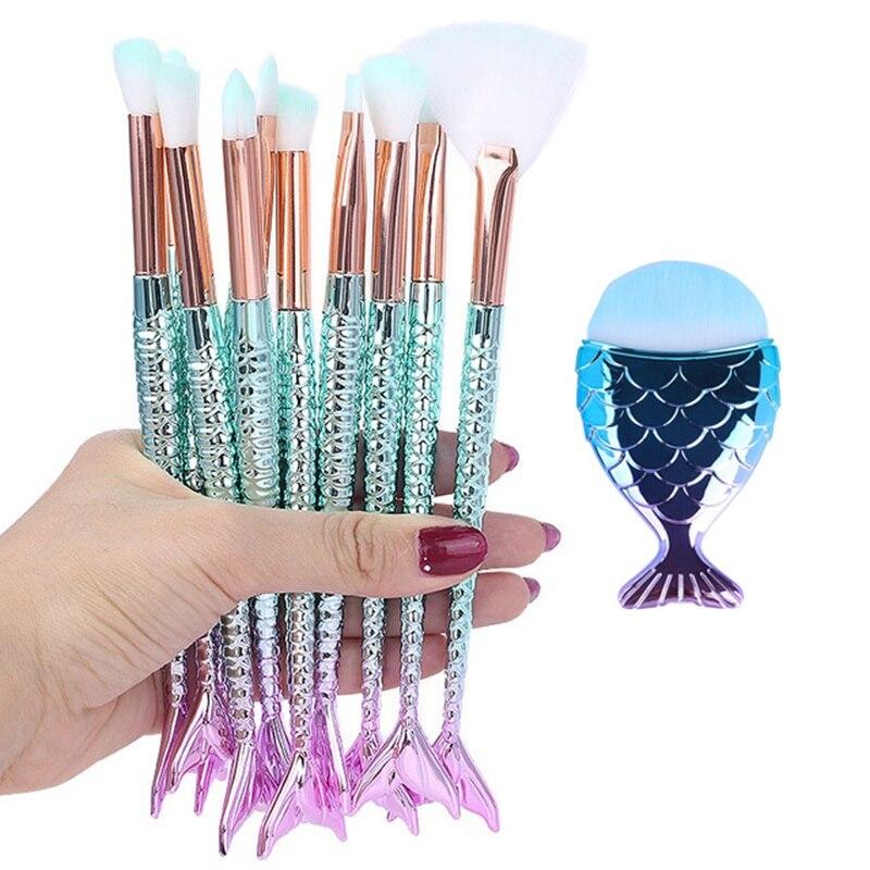 Mermai-Kit de pinceaux de maquillage, outil naturel, crayon cosmétique, fond de teint, artiste, surligneur sirène, ensemble de visage, ombre à paupières, lèvres
