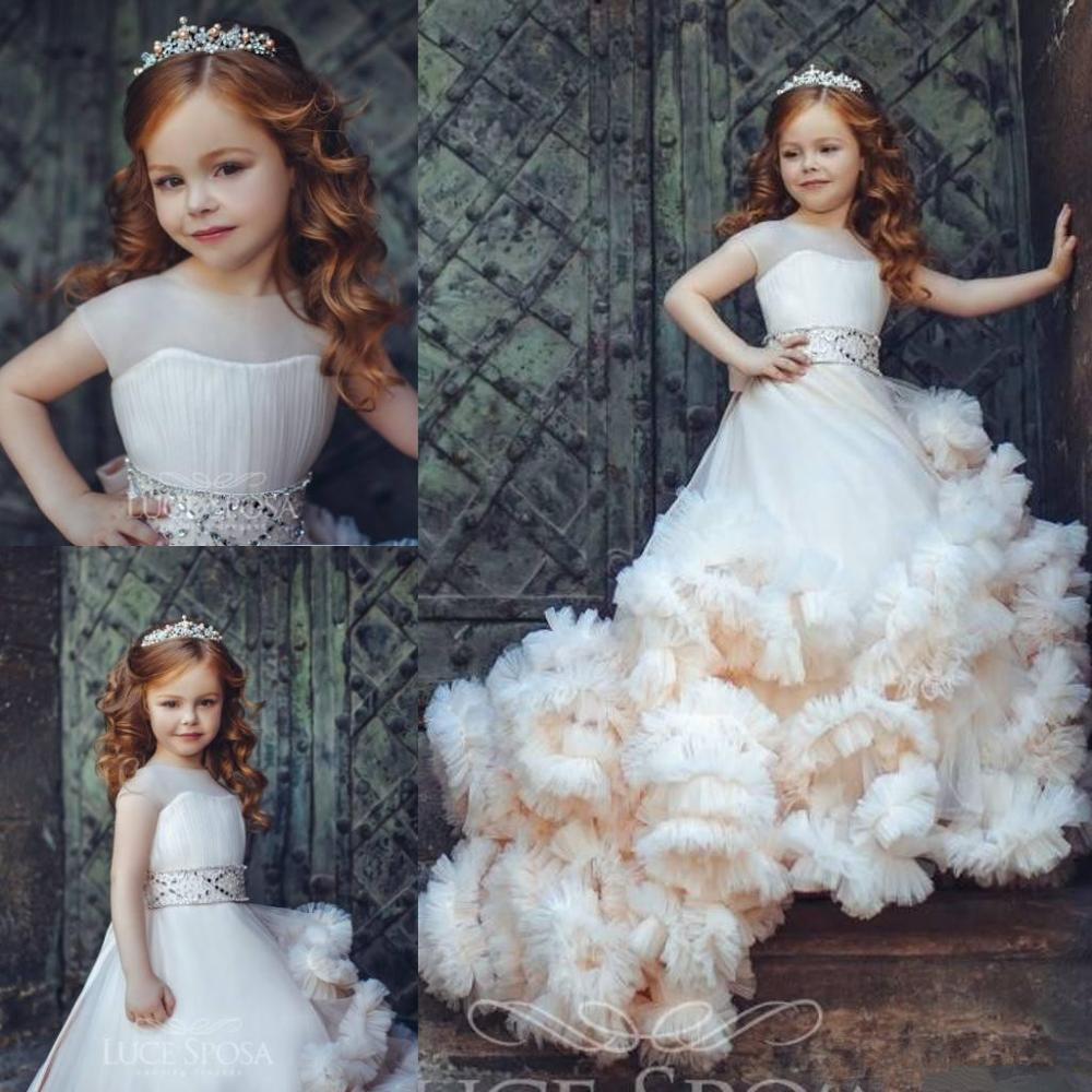 New Arrival Ruffled Flower Girl Dresses Special Occasion For Weddings Pleated Kids Pageant Gowns Ball Gown
